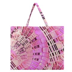 Pretty Pink Circles Curves Pattern Zipper Large Tote Bag by CrypticFragmentsDesign