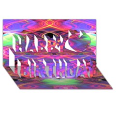 Neon Night Dance Party Pink Purple Happy Birthday 3d Greeting Card (8x4)  by CrypticFragmentsDesign
