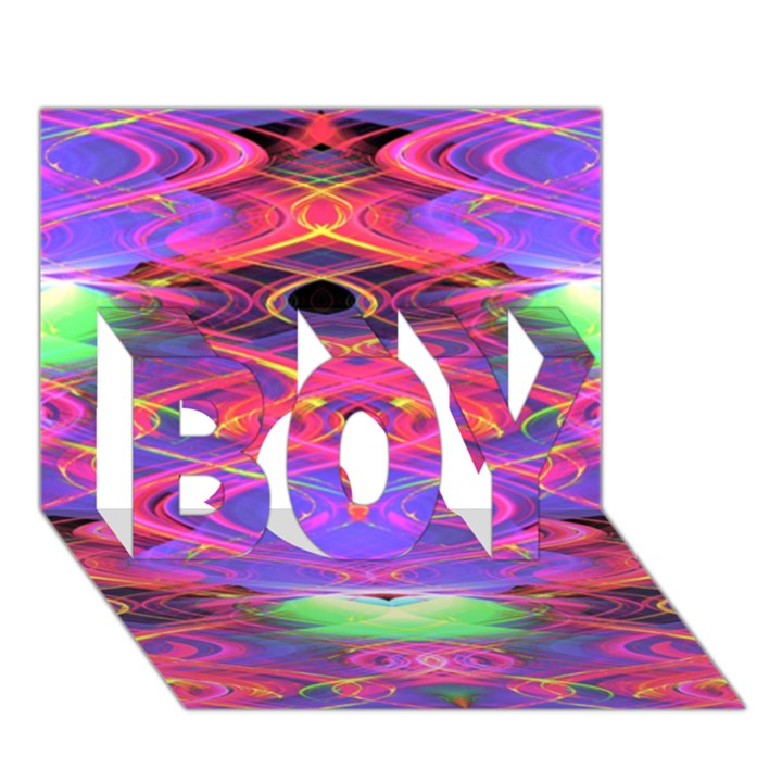 Neon Night Dance Party Pink Purple BOY 3D Greeting Card (7x5)
