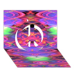 Neon Night Dance Party Pink Purple Peace Sign 3d Greeting Card (7x5)  by CrypticFragmentsDesign