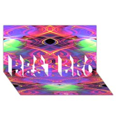 Neon Night Dance Party Pink Purple Best Bro 3d Greeting Card (8x4)  by CrypticFragmentsDesign