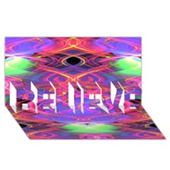 Neon Night Dance Party Pink Purple Believe 3d Greeting Card (8x4)  by CrypticFragmentsDesign