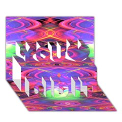 Neon Night Dance Party Pink Purple You Did It 3d Greeting Card (7x5)