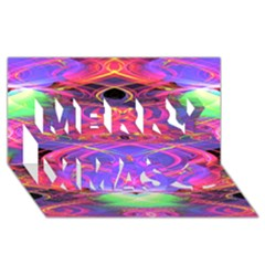 Neon Night Dance Party Pink Purple Merry Xmas 3d Greeting Card (8x4)  by CrypticFragmentsDesign