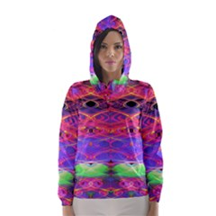 Neon Night Dance Party Pink Purple Hooded Wind Breaker (women) by CrypticFragmentsDesign
