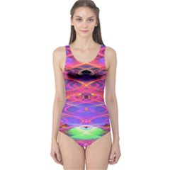 Neon Night Dance Party Pink Purple One Piece Swimsuit by CrypticFragmentsDesign