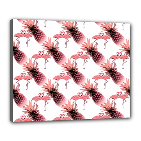 Flamingo Pineapple Tropical Pink Pattern Canvas 20  X 16  by CrypticFragmentsColors