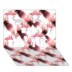 Flamingo Pineapple Tropical Pink Pattern Love 3d Greeting Card (7x5)  by CrypticFragmentsColors