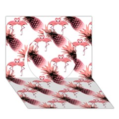 Flamingo Pineapple Tropical Pink Pattern Circle 3d Greeting Card (7x5)  by CrypticFragmentsColors