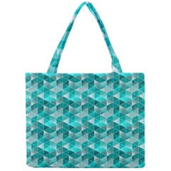 Aquamarine Geometric Triangles Pattern Mini Tote Bag by KirstenStar