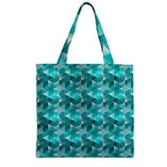 Aquamarine Geometric Triangles Pattern Zipper Grocery Tote Bag by KirstenStar
