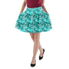 Aquamarine Geometric Triangles Pattern A Line Pocket Skirt by KirstenStar