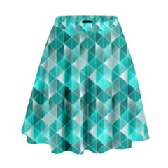 Aquamarine Geometric Triangles Pattern High Waist Skirt by KirstenStar