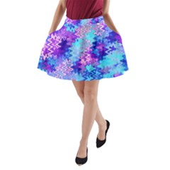 Blue And Purple Marble Waves A Line Pocket Skirt by KirstenStar