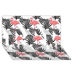Flamingos Palmetto Fronds Tropical Pattern Mom 3d Greeting Card (8x4)  by CrypticFragmentsColors
