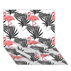 Flamingos Palmetto Fronds Tropical Pattern Love Bottom 3d Greeting Card (7x5)  by CrypticFragmentsColors