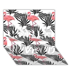 Flamingos Palmetto Fronds Tropical Pattern You Are Invited 3d Greeting Card (7x5)  by CrypticFragmentsColors