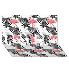 Flamingos Palmetto Fronds Tropical Pattern Best Bro 3d Greeting Card (8x4)  by CrypticFragmentsColors