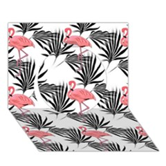Flamingos Palmetto Fronds Tropical Pattern Circle 3d Greeting Card (7x5)  by CrypticFragmentsColors