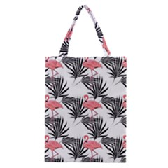 Flamingos Palmetto Fronds Tropical Pattern Classic Tote Bag by CrypticFragmentsColors