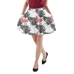 Flamingos Palmetto Fronds Tropical Pattern A-Line Pocket Skirt by CrypticFragmentsColors