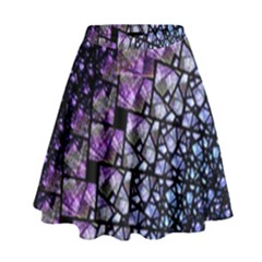 Dusk Blue And Purple Fractal High Waist Skirt by KirstenStar