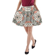 Petals, Vintage Pink, Bold Flower Design A-Line Pocket Skirt by Zandiepants