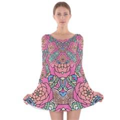 Petals, Carnival, Bold Flower Design Long Sleeve Velvet Skater Dress by Zandiepants