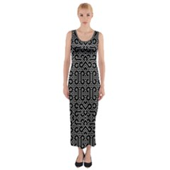 Black And White Ethnic Sharp Geometric  Print Fitted Maxi Dress