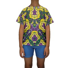 Petals, Mardi Gras, Bold Floral Design Kid s Short Sleeve Swimwear by Zandiepants