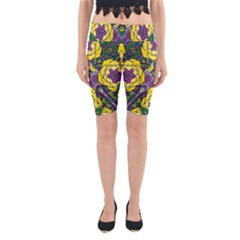 Petals, Mardi Gras, Bold Floral Design Yoga Cropped Leggings