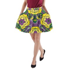 Petals, Mardi Gras, Bold Floral Design A Line Pocket Skirt by Zandiepants