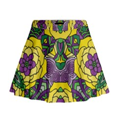 Petals, Mardi Gras, Bold Floral Design Mini Flare Skirt by Zandiepants
