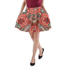 Petals, Pale Rose, Bold Flower Design A-Line Pocket Skirt by Zandiepants
