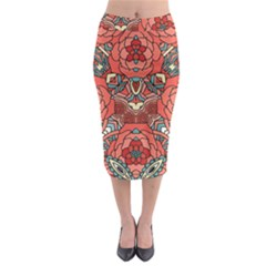 Petals, Pale Rose, Bold Flower Design Midi Pencil Skirt by Zandiepants