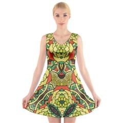 Petals   Retro Yellow   Bold Flower Design V-Neck Sleeveless Skater Dress