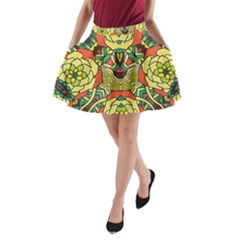 Petals   Retro Yellow   Bold Flower Design A-Line Pocket Skirt by Zandiepants