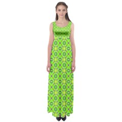 Vibrant Abstract Tropical Lime Foliage Lattice Empire Waist Maxi Dress by DianeClancy