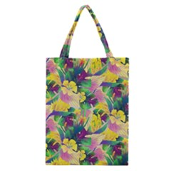 Tropical Flowers And Leaves Background Classic Tote Bag by TastefulDesigns