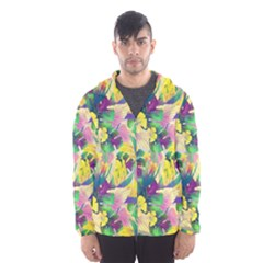 Tropical Flowers And Leaves Background Hooded Wind Breaker (Men)