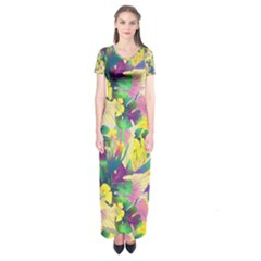 Tropical Flowers And Leaves Background Short Sleeve Maxi Dress