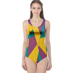 Bursting Star Poppy Yellow Violet Teal Purple One Piece Swimsuit by CircusValleyMall