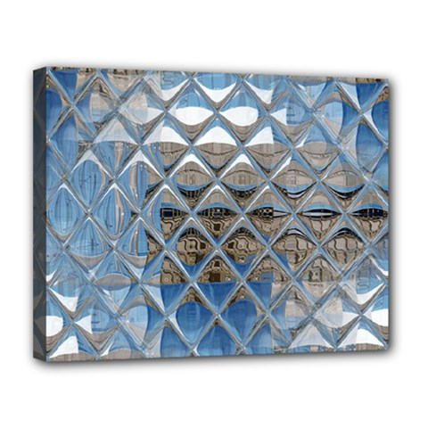 Mirrored Glass Tile Urban Industrial Canvas 14  X 11  by CrypticFragmentsDesign