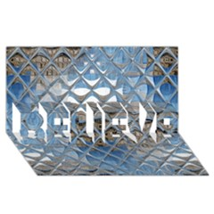 Mirrored Glass Tile Urban Industrial Believe 3d Greeting Card (8x4)  by CrypticFragmentsDesign
