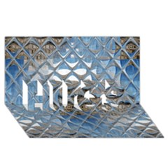 Mirrored Glass Tile Urban Industrial Hugs 3d Greeting Card (8x4)  by CrypticFragmentsDesign