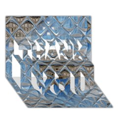 Mirrored Glass Tile Urban Industrial Thank You 3d Greeting Card (7x5)  by CrypticFragmentsDesign