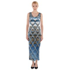 Mirrored Glass Tile Urban Industrial Fitted Maxi Dress