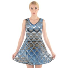 Mirrored Glass Tile Urban Industrial V Neck Sleeveless Skater Dress
