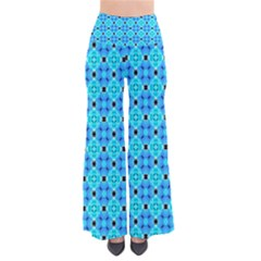 Vibrant Modern Abstract Lattice Aqua Blue Quilt Pants by DianeClancy