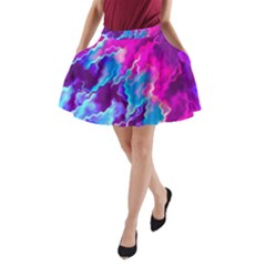 Stormy Pink Purple Teal Artwork A Line Pocket Skirt by KirstenStar